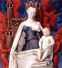 La virgen con el Niño Jesús (Tabla izquierda del Díptico de Melun). Jean Fouquet.