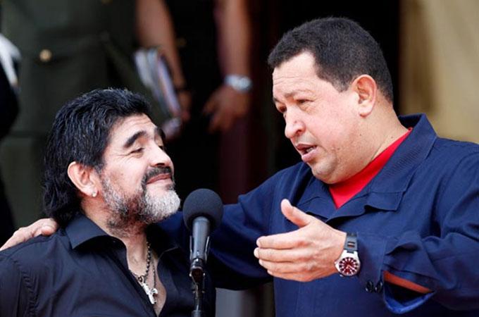 Maradona y Hugo Chávez